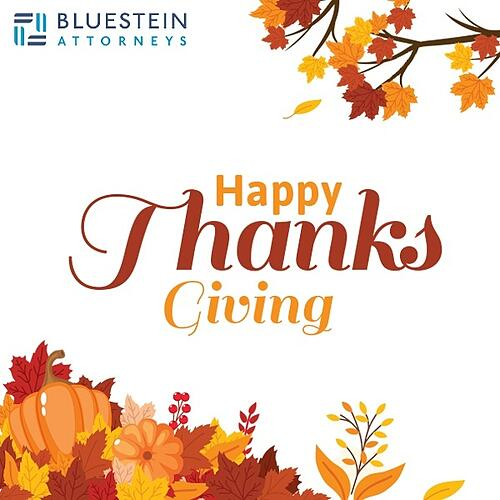 Happy Thanksgiving from Bluestein Attorneys law firm in Columbia, SC